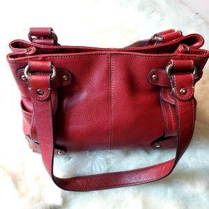 Tignanello Brick Red Pebble French Tote Bag Purse